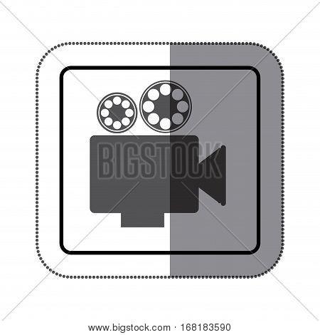 sticker monochrome square shape with retro movie projector vector illustration