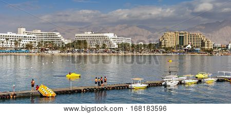 Water sport and recreation activities at the Aqaba gulf (Red Sea) in Eilat - number one resort and recreation town of Israel