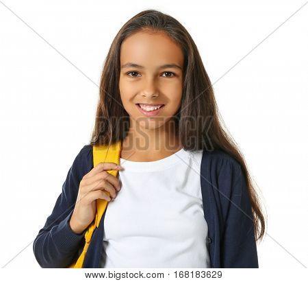 Cute schoolgirl on white background