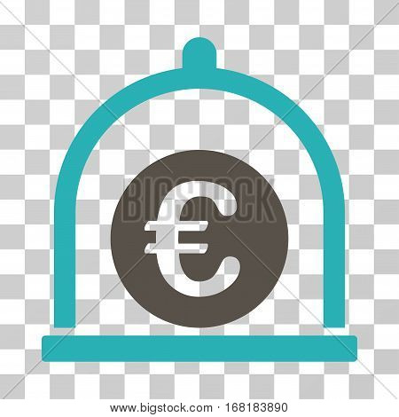 Euro Standard icon. Vector illustration style is flat iconic bicolor symbol grey and cyan colors transparent background. Designed for web and software interfaces.