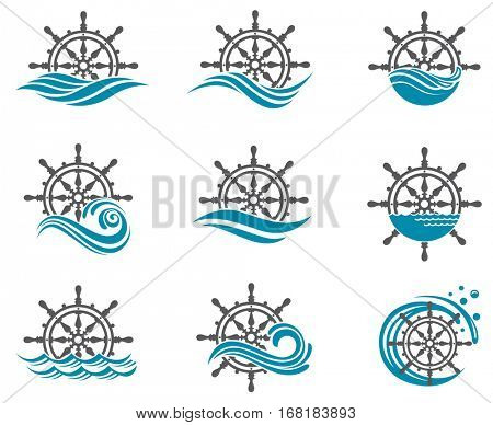 Collection of yacht helm wheel image with sea waves. Vector illustration
