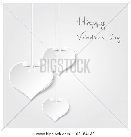 White Valentine Hearths From Paper Hanging And Happy Valentines Day Eps10