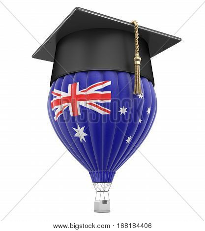 3D Illustration. Hot Air Balloon with Australian Flag and Graduation cap. Image with clipping path