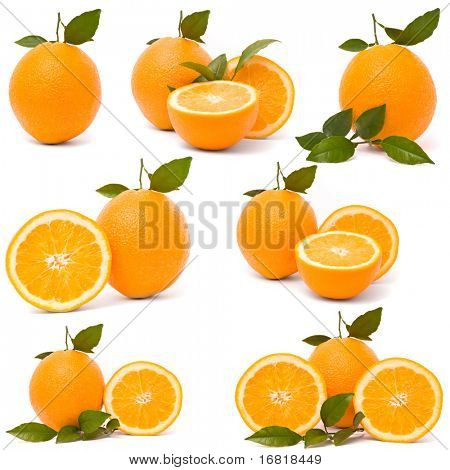 Ripe orange with leaves isolated on a white background