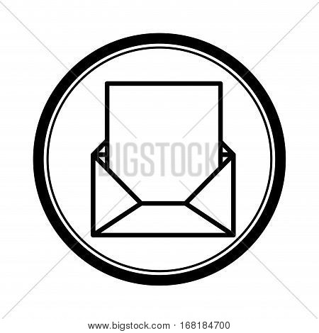 circular shape with blank paper envelopes opened with sheet vector illustration