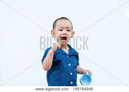 Asian Baby Boy Brushing Teeth