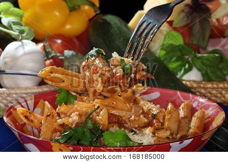 Feathers Pasta With Cheese And Sauce