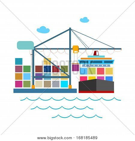 Cargo Container Ship at the Dock Isolated on White ,Unloading Containers from a Cargo Ship in a Seaport with Cargo Crane, International Freight Transportation