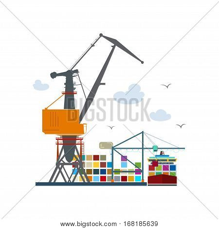 Cargo Seaport Isolated on White ,Unloading Containers from a Cargo Ship in a Docks with Cargo Crane ,Container Ship at the Dock, International Freight Transportation