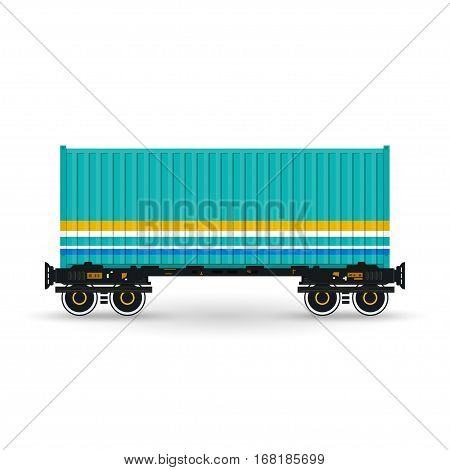 Green Container on Railroad Platform, Railway and Container Transport ,Platform with Container Isolated on White