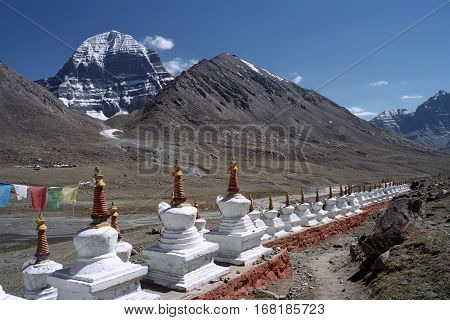 Buddhist ritual structures Stupas at the North Face of sacred Mount Kailash in Western Tibet.