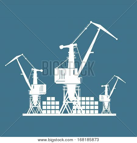 Cargo Cranes and Containers at the Port Isolated on Blue, Containers and Cranes at the Dock, International Freight Transportation