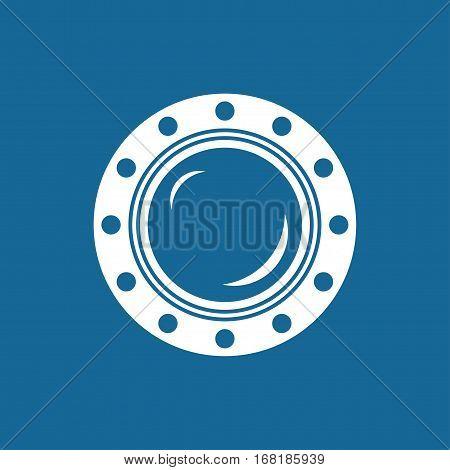 Porthole, Shipboard Window, Round Ship, Porthole Isolated on Blue