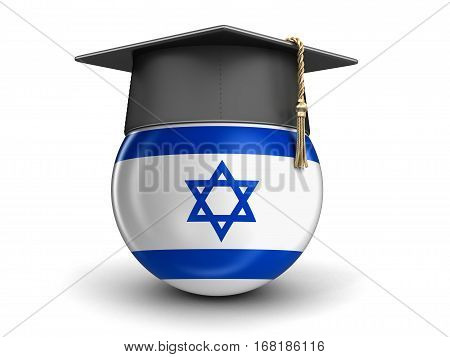 3D Illustration. Graduation cap and Israeli flag. Image with clipping path