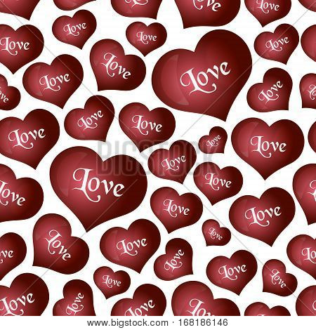 Red Helium Balloons Heart Shape For Love And Valentine Seamless Pattern Eps10