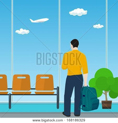 Man with a Backpack Looking out the Window in a Waiting Room, Waiting Hall with Guy ,Travel and Tourism Concept ,Flat Design