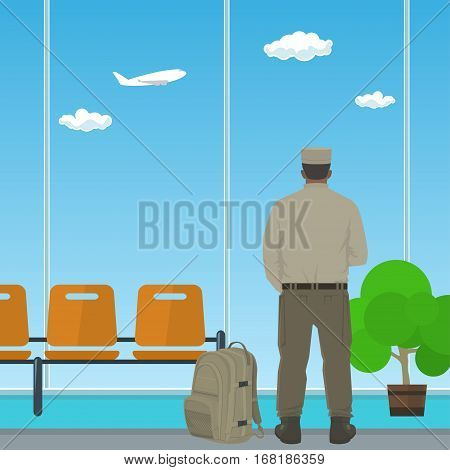 Man in Uniform Looking out the Window in a Waiting Room ,Waiting Hall with a Man, Flat Design