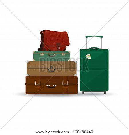 Retro Colored Suitcases and Trolley Suitcase and Travel Bag Isolated on White, a Luggage Bags for Traveling ,Travel and Tourism Concept