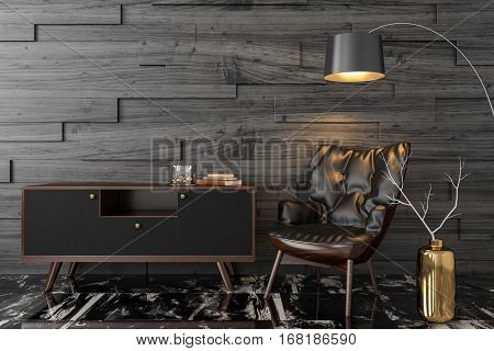 Black leather armchair, dresser, console, floor lamp in empty black room. 3D render illustration