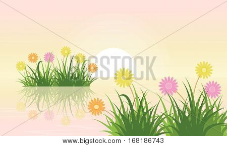 Illustration vector of flower landscape collection stock