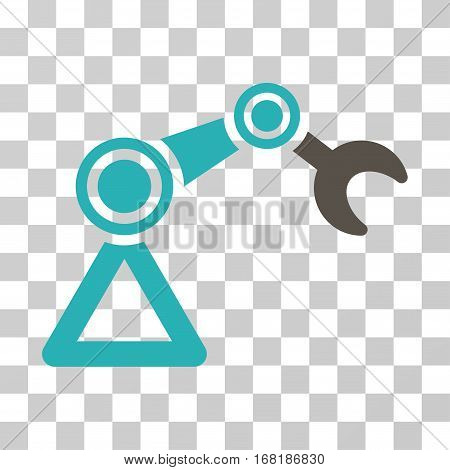 Manipulator Equipment icon. Vector illustration style is flat iconic bicolor symbol grey and cyan colors transparent background. Designed for web and software interfaces.