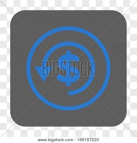 Chargeback interface toolbar button. Vector icon style is a flat symbol in a rounded square button blue and gray colors chess transparent background.