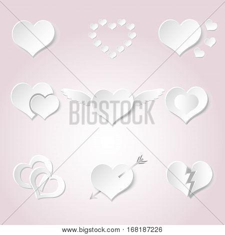 Set Of White Paper Style Valentine Hearth Love Symbols Eps10