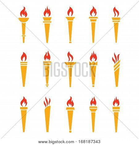 Icons golden torch with flame isolated vector set. The symbol of victory success or achievement. Silhouettes of various medieval flaming golden torches.