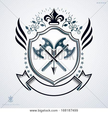 Vector emblem vintage heraldic design with hatchets crossed