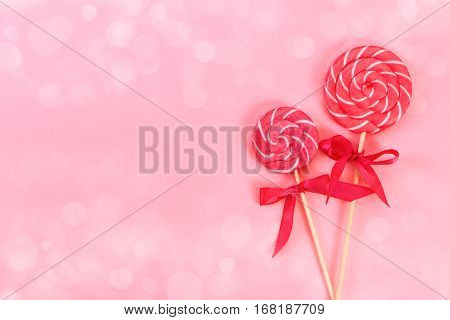 Two Lollipop With White And Pink Stripes
