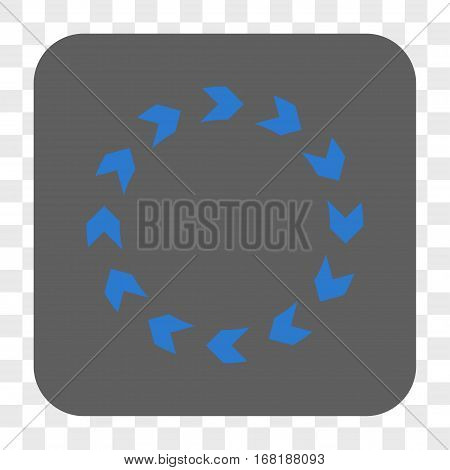Circulation interface toolbar button. Vector icon style is a flat symbol on a rounded square button blue and gray colors chess transparent background.