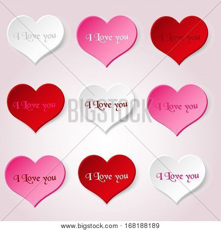 White Red And Pink Valentine Hearths From Paper With I Love You Decoration Element Eps10