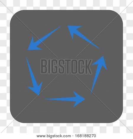 Circulation interface toolbar button. Vector icon style is a flat symbol in a rounded square button blue and gray colors chess transparent background.