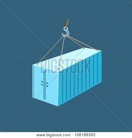 Blue Container with Crane, Container Hanging on Crane Hook