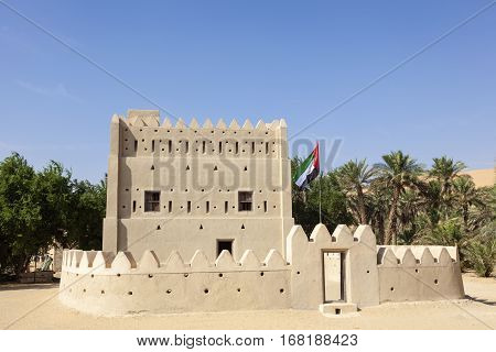MEZAIRAA, UAE - DEC 4, 2016: Historic Dhafeer fort in Liwa Oasis area town of Mezairaa. Emirate of Abu Dhabi United Arab Emirates Middle East