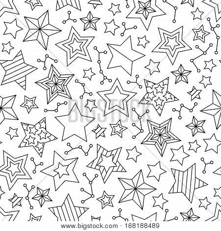 Seamless pattern with outline stars. Coloring book page for adults and older children. Art vector illustration