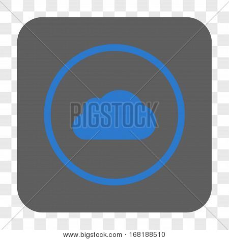 Cloud interface toolbar button. Vector icon style is a flat symbol on a rounded square button blue and gray colors chess transparent background.