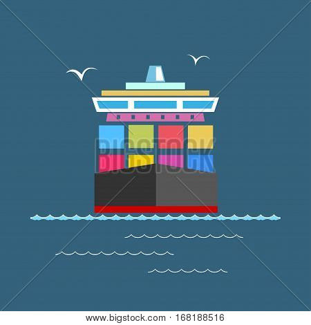 Front View of the Cargo Container Ship at Sea, Industrial Marine Vessel with Containers on Board, International Freight Transportation