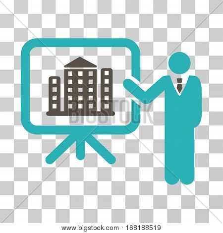 Realty Presention icon. Vector illustration style is flat iconic bicolor symbol grey and cyan colors transparent background. Designed for web and software interfaces.