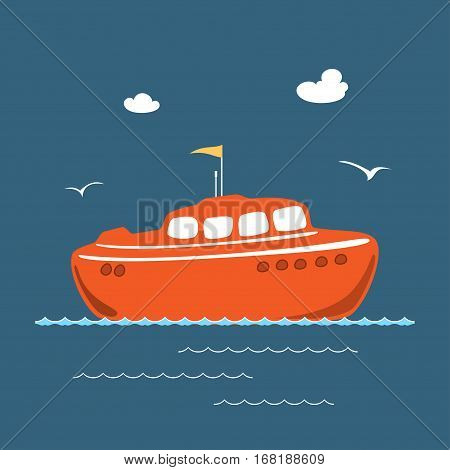 Orange Lifeboat, Marine Rescue Vessel, Flat Design