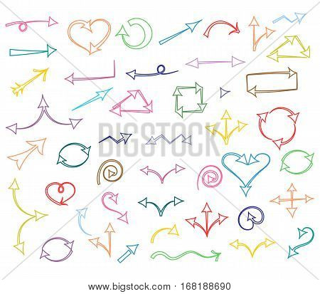 Colorful Hand Drawn Arrows isolated on White.Sketch Style. Prefect for Design. Vector Illustration.