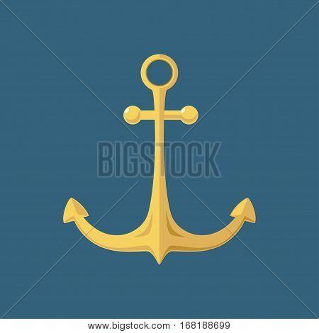 Gold Anchor, Flat Design, Ship Equipment, Illustration