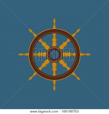 Ships Wheel, Flat Design ,Ship Equipment ,Illustration