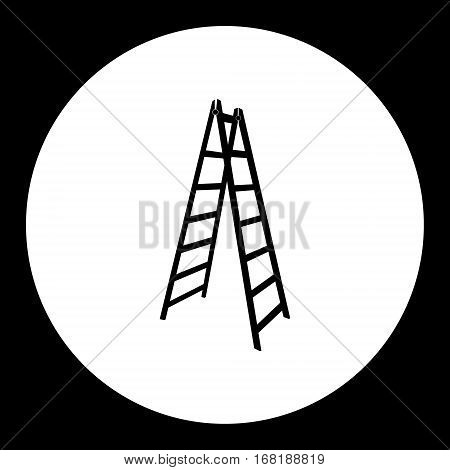 One Isolated Ladder Black Simple Icon Eps10