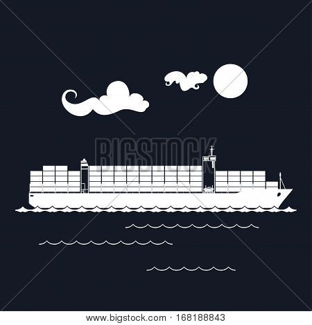Cargo Container Ship Isolated on Black Background, Industrial Marine Vessel with Containers on Board ,International Freight Transportation