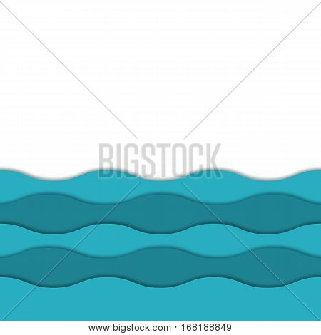 Seamless 3d vector layered sea background. Colorful 3d layers with realistic soft shadow Abstract vector waves seamless layered pattern. Design for banner, cover, brochure, flyer, template