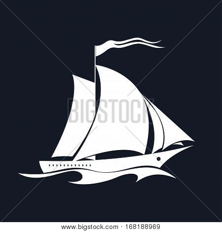 Yacht on the Waves ,Sailing Vessel Isolated on Black Background, Travel Concept