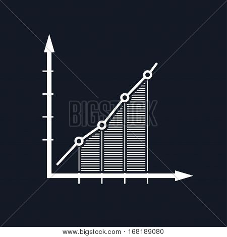 Chart ,Graphic Success, Graph Growth Isolated on Black Background