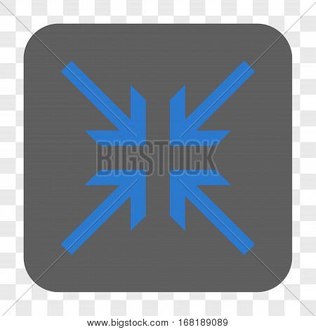 Collide Arrows interface toolbar button. Vector icon style is a flat symbol inside a rounded square button blue and gray colors chess transparent background.
