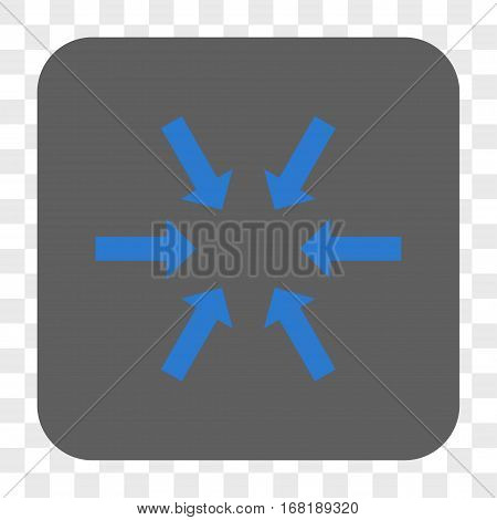 Compact Arrows interface toolbar button. Vector icon style is a flat symbol in a rounded square button blue and gray colors chess transparent background.